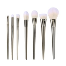 7pcs Silver Pro Makeup Brushes Cosmetics Set Soft Eyeshadow Eyebrow Brush Powder Foundation Face Brush Make Up Beauty Tools