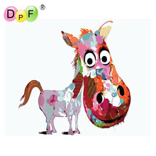 "DPF Diy Digital Painting By Numbers ""little donkey"" Acrylic Picture Wall Art Hand Painted Oil Painting For Home decor painting(China)"