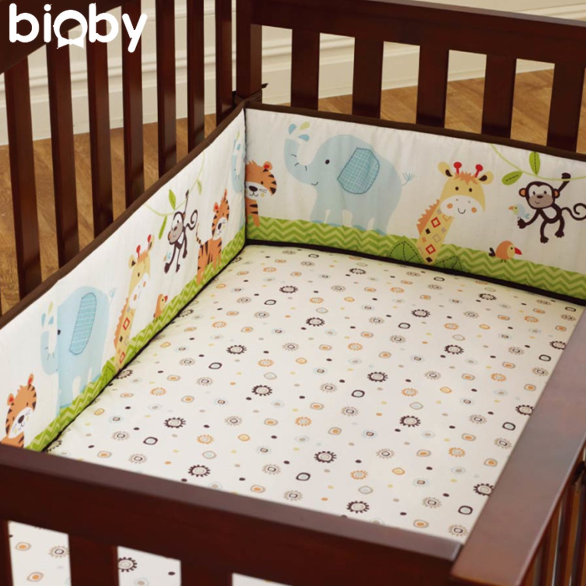 Large 4Pcs Cotton Baby Infant Cot Crib Bumper Safety Protector Toddler Nursery Bedding Set Infantile Cushion Pad Baby Care<br>