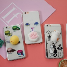 for i6s 6 Phone cover fundas 3D Silicone Squishy Cat Paw TPU Shell for iPhone 6s 6 - Charming Cat for iphone 8 8plus
