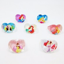 50PC Lovely Cartoon Mermaid Barbie Princess Heart shape Girl Ring Beautiful Elegant Wedding Kids Cinderella Ring(China)