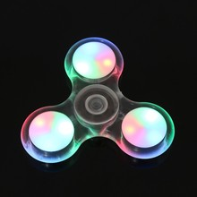 2017 Funny LED Lighting Hand Spinner Focus Crystal Transparent Luminous Finger Spinner ADHD Stress Autism EDC Toys