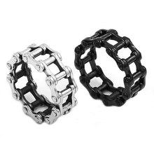 Wholesale Motorcycle Biker Chain Ring Stainless Steel Jewelry Punk Silver Black Bicycle Chain Ring Motor Biker Ring Men SWR0680