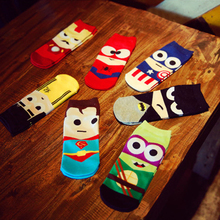 Super Hero Cartoon Man Sock Ankle Cotton Socks Men Boat Sock Harajuku 7 colors