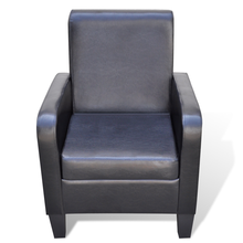 iKayaa Modern chair upholstered with black artificial leather Living Room Chair ES Stock