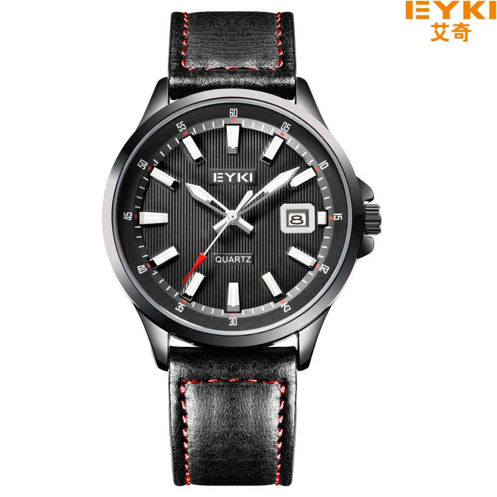 2017 New EYKI Fashion Men Military Watch Sport Quartz Calendar Watch Men Waterproof Leather Strap Casual Wristwatch montre femme<br><br>Aliexpress