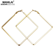 MANILAI Punk Style 60mm Big Metal Square Hoop Earrings For Women 2017 Fashion Jewelry Pendientes Boho Geometric Simple Earrings(China)