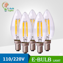 2W 4W E14 Antique LED edison bulb LED lightbulb filament bulb E14 candle slim cap 220V led bombilla lampara Chandelier lighting