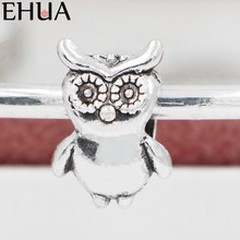 Free Shipping Sliver Bead Charm Owl Animals Bracelet Accessories Beads Fit Pandora Bracelets & Bangles DIY Jewelry SPB136