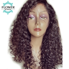 FlowerSeason Curly 13x6 Deep Parting Lace Front Human Hair Wigs For Black Women With Baby Hair Brazilian Non Remy Pre Plucked(China)