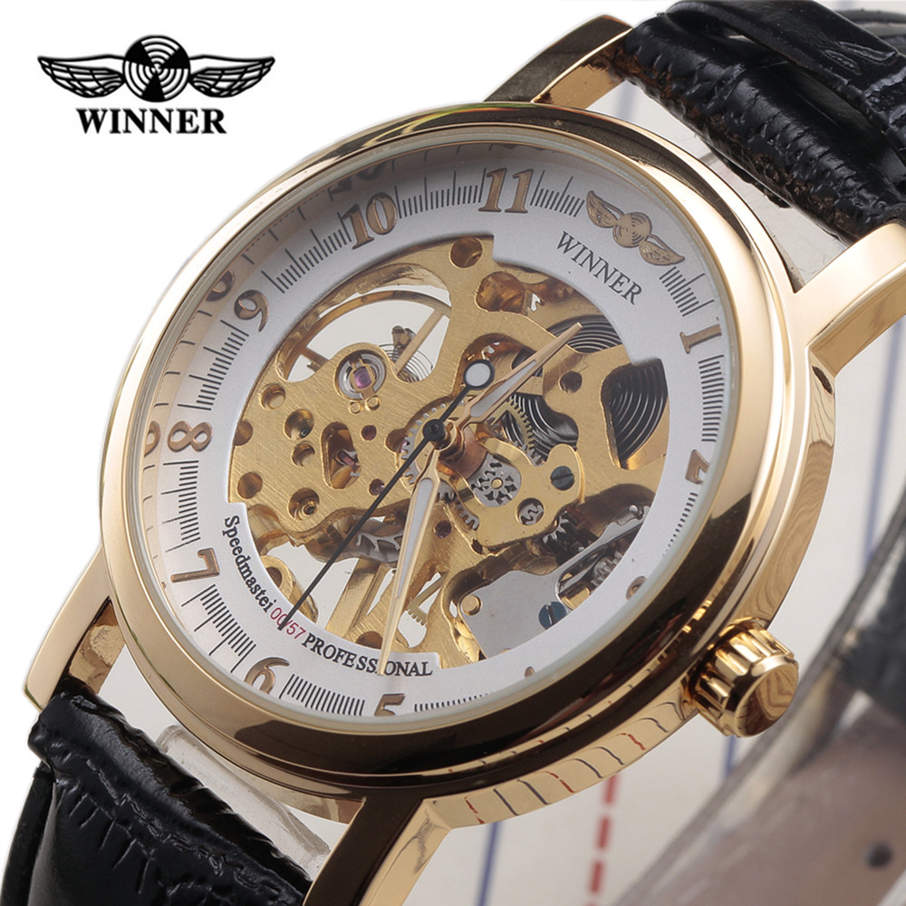 New Fashion Winner Classic Ultra Thin Gold Case Leather Strap Watches Men Women Skeleton Gift Mechanical Hand Wind Wrist Watches<br><br>Aliexpress