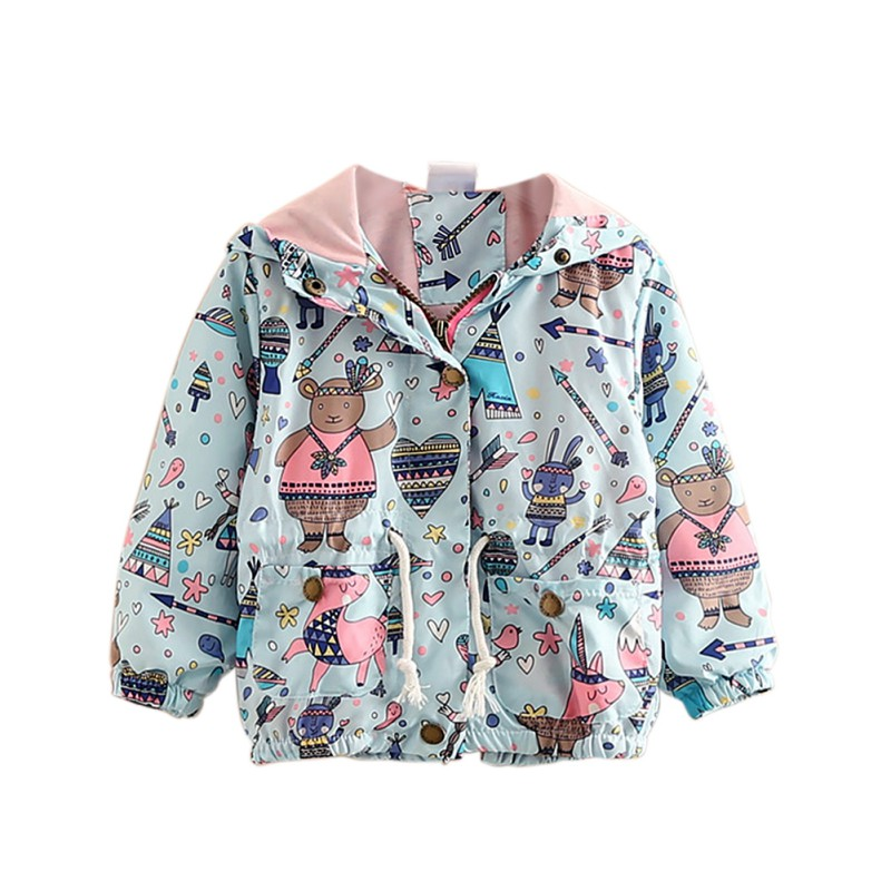 Fashion Autumn Baby Girls Coat Cute Cartoon Printed Children Kids Outerwear Jacket Raincoat Girl