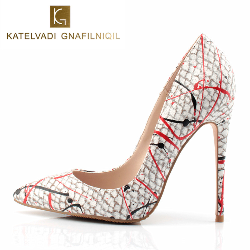 New 2018 Autumn Shoes Women Pumps Sexy Graffiti High Heels Shoes Fashion Snake Printed Wedding Party Shoes Big Size 34-43 K-039<br>