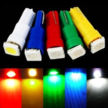 Hotsale 10pcs 12V T5 5050 SMD 1LED Car Wedge Side Lamp Parking Light 5 Colors white/blue/red/yellow/green 10X(China)