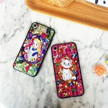 Stained Glass Pattern Soft TPU Frame Cover w/ Back Acrylic Hard Case Alice in Wonderland Marie Cat for iPhone 7 7 Plus 6 6s Plus