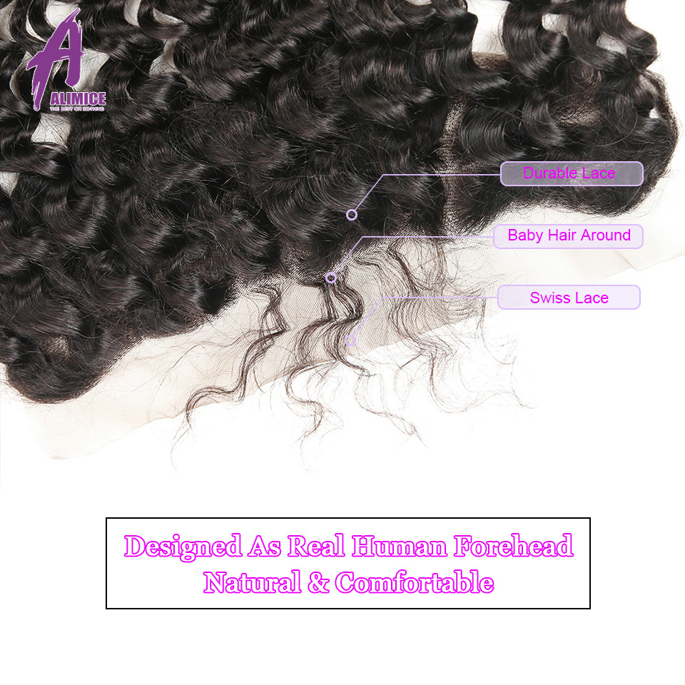 ALIMICE Hair Indian Deep Wave Hair 13X4 Ear To Ear Lace Frontal Closure 100% Non Remy Natural Color Human Hair Closure 10-24Inch (4)