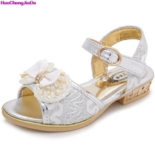 HaoChengJiaDe Children's Shoes Crystal Bow Shiny High Heels Fashion Princess Shoes Hot Sale New Girls Fish Mouth Sandals Kids(China)