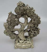 Collectible Decorated Old Handwork Tibet Silver Carved Lucky Coin Tree Statue/ Ready source of money Sculpture
