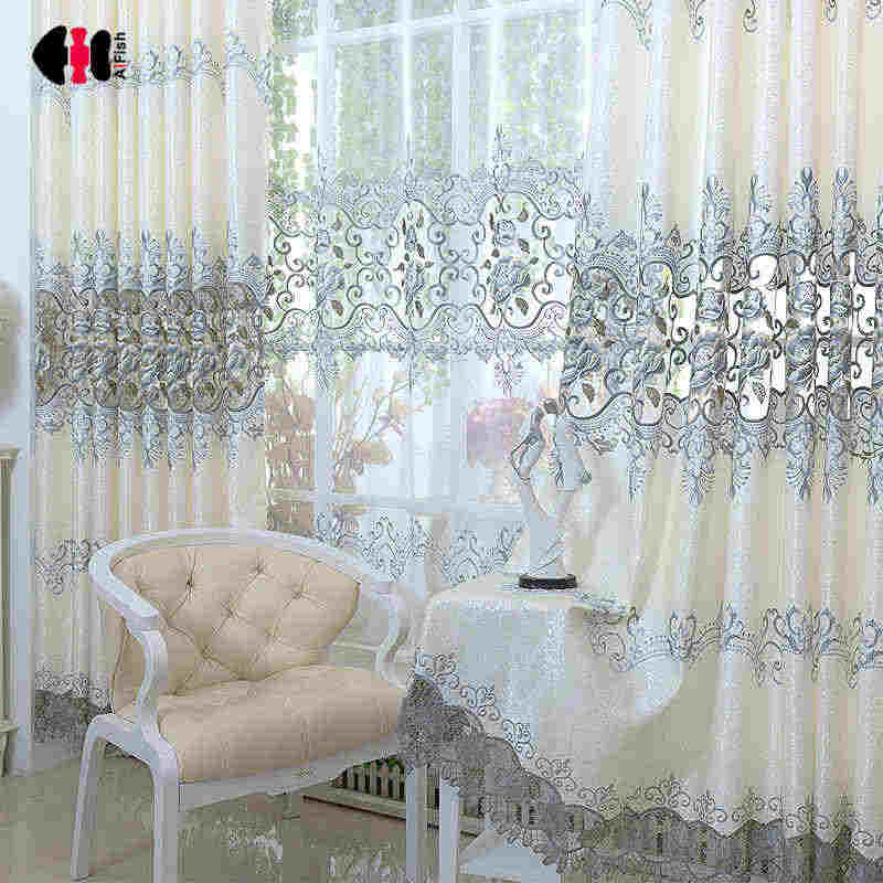 European Hollow Water-Solubility Lace Embroidered Curtains Custom Ready Made Wedding Living Room Bedroom Gauze Panel WP147C