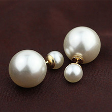 ES798 Earrings Double Sided Simulated Pearls Stud Earrings Big Pearl Brincos For Women Gold Silver Plated Bijoux For Wedding(China)