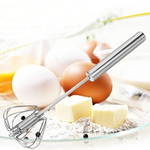 Durable Stainless Steel Semi-automatic Manual Press Whisk Rotary Egg Beater Mixer Frother Kitchen Cooking Tool