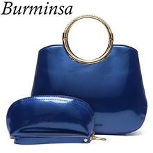 Burminsa Brand Glossy Patent Leather Handbags Ladies Designer Tote Shoulder Bags High Quality PU Crossbody Bags For Women 2017(China)