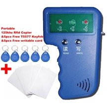 Portable 125KHz RFID Reader & Writer Duplicator Copier Programmer Device & 5 Free EM4305 T5577 Tag & 5 Free Writable Card