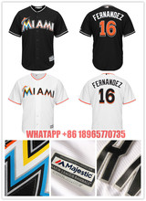 Retro 100% Stitched Men's 16 Giancarlo Stanton #16 Jose Fernandez Jerseys Majestic Black Alternate Cool Base Player Jersey(China)