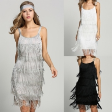 2017 Straps Summer Gatsby Women'S Size Clothes Glam Women Costume Long Clothing Party Tassels Flapper Beach Dresses Fringe Dress