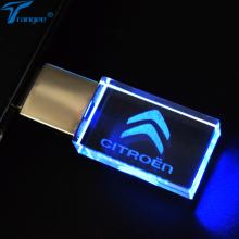 Trangee Crystal Transparent USB Flash Drives for CITROEN Car Logo LED Light 4GB-32GB USB 2.0 Flash Memory Stick Pen/Thumb Drive(China)