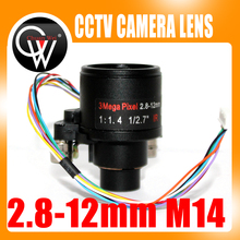 "3MP HD Motorized Zoom 1/2.7"" 2.8-12mm Varifocal F1.4 D14 Mount DC Iris Auto Focus IR CCTV Security Camera Lens"