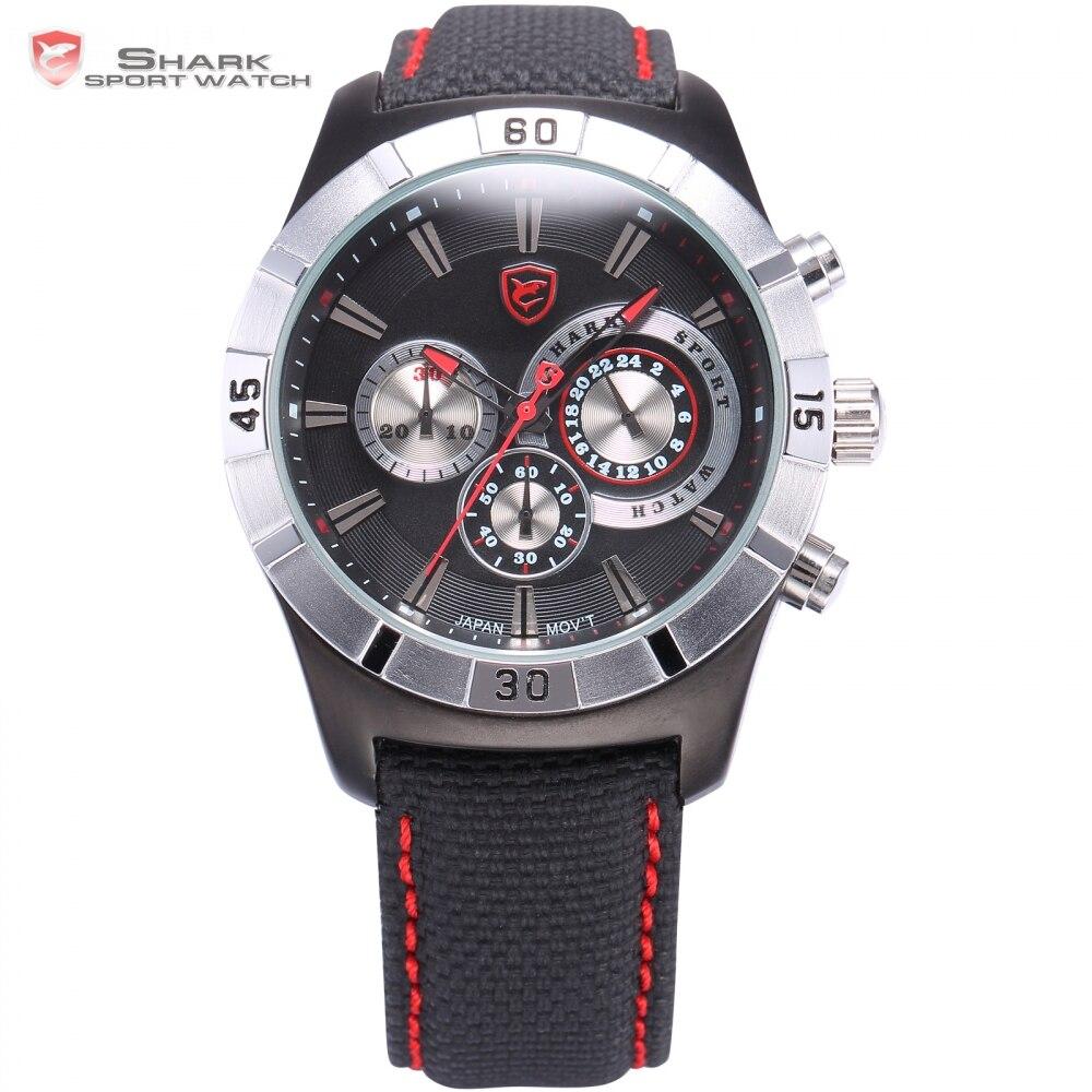 Ganges Shark Sport Watch 6 Hands 24 Hours Stopwatch Black Red Nylon Strap Military Male Clock Men Gent Quartz Wristwatch / SH287<br>