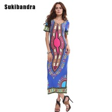 Sukibandra Vintage Summer Maxi Long Floral Print Women Dress Boho Bohemian Ladies Bodycon Indian Vestidos Yellow Blue Dresses(China)