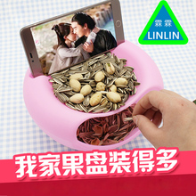 LINLIN Fruit box for massage Creative melon fruit plate desktop mini plastic trash room with simple trash cover melon seeds(China)