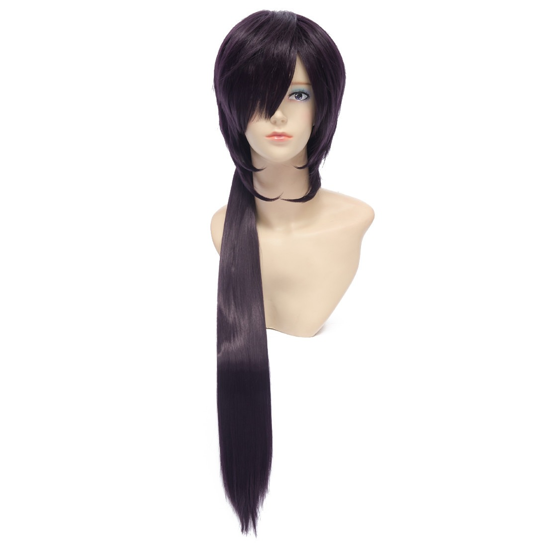 30cm Base Wig 60cm Pigtail Purple Straight Long Synthetic Cosplay Costume Wig peluca<br><br>Aliexpress