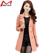Trench Coat Women 2017 Spring Autumn Female Casual Double-Breasted Long Coats Overcoat Windbreaker Raincoat casaco feminino YL34(China)