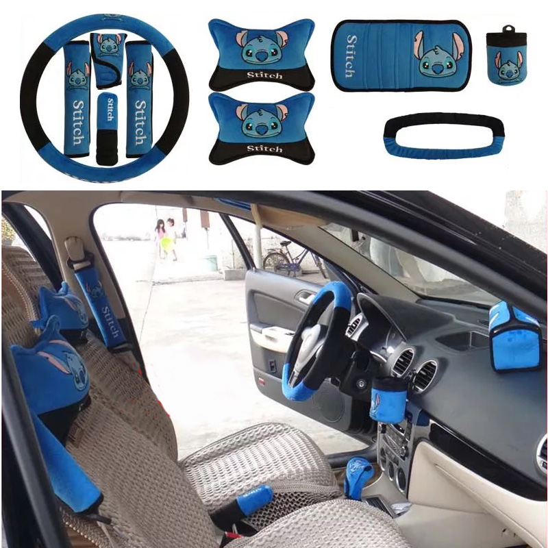 10pcs-set-Cute-Cartoon-Car-Interior-Accessories-Steering-wheel-Cover-Seat-Belt-Cover