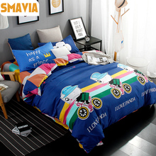 SMAVIA Cartoon Bedding Sets 3/4pc Dye Printing Bed Sets  Queen King Size Home Hotel Bed Linen Bed Sheet Duvet Cover Sets For Kid