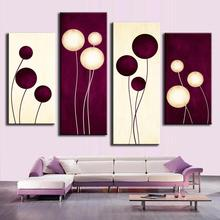 4 Pcs/Set Abstract Oil Painting On Canvas Combined Plum Cream Abstract Circles Canvas Wall Art Picture,