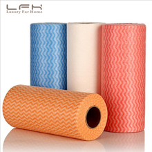 LFH 2pcs Roll Kitchen Disposable Non-woven Fabrics Washing Cleaning  Towels Striped Eco Friendly Practical Rags Wiping Souring