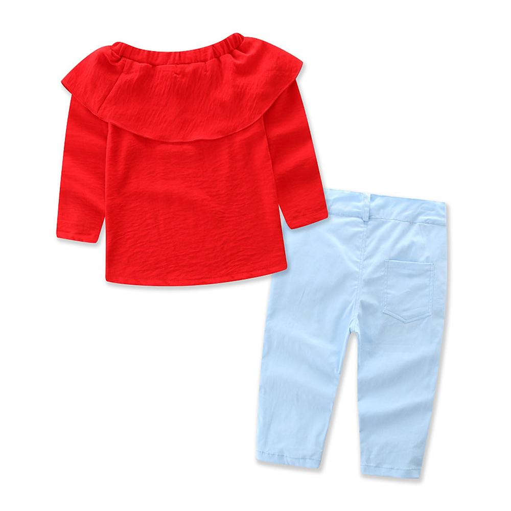 1-7Y En Bas Âge Enfant Bébé Fille Vêtements Coton À Manches Longues O-cou T-shirt Tops Floral Denim Jeans Pantalon 2 pcs Ensemble Bébé vêtements Outfit 3