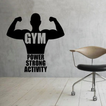 Sports Gym Art Vinyl Wall Stickers Fitness Power Strong Wall Decals Home Decor For Bedrooms Adhesive