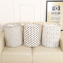 Brief Dirty Clothes Basket Waterproof Folding Laundry Basket Cotton Toys Basket for Kids Room Star Dot Print Storage Bucket(China)
