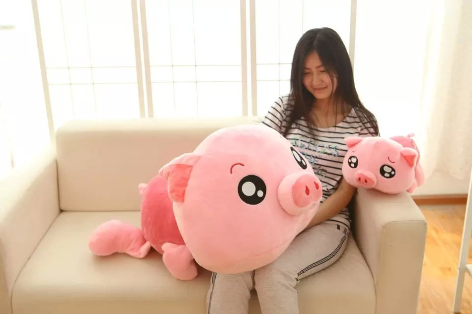 Big Size 60Cm Large Size eyes drowned in tears Pig plush Toys pig Lying On Front pillow cushion stuffed plush doll birthday gift<br>