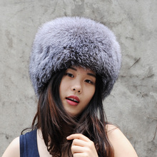CX-C-169B Chinese Handmade Winter Head Warmer Real Silver Fox Fur Beanie Hat