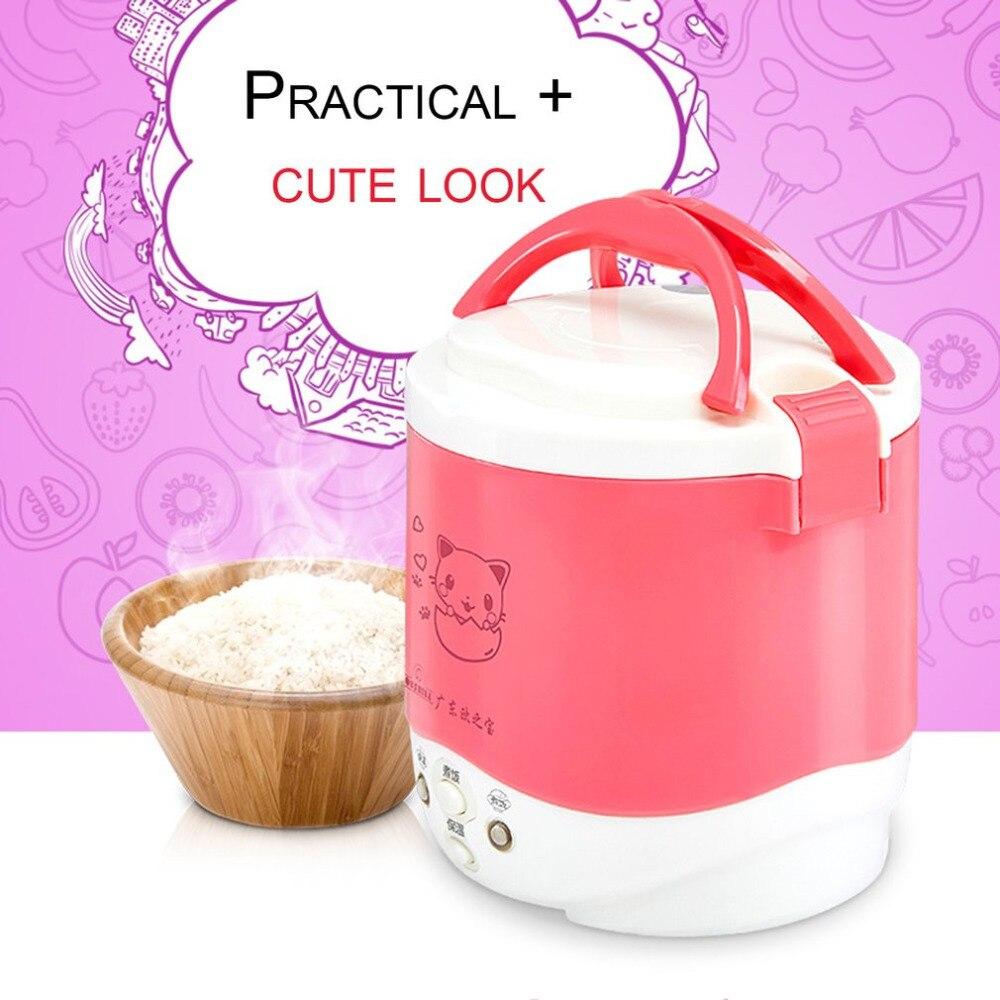 Cute Cat Elect 1L Mini Cooker Electric Rice Cooker Auto Rice Cooker With Cute Cat Pattern For Rice Soup Porridge Steamed Egg<br>