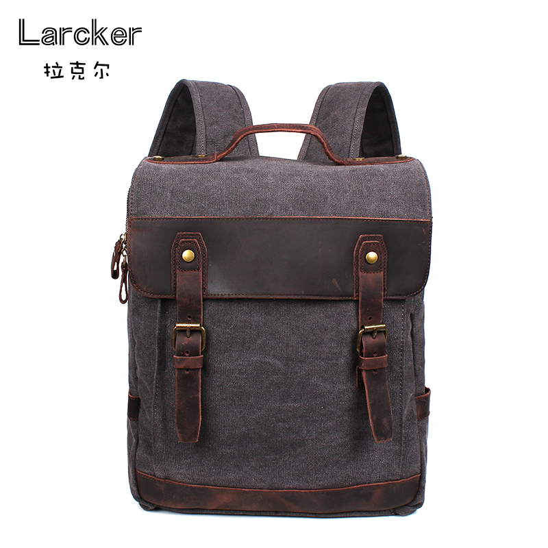 vintage new design men canvas backpacks anti-theft backpack cowhide belts cover travel backpack fashion men bag high quality <br>