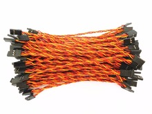 100Pcs 10cm/15cm/20cm/30cm 26AWG Male to Male JR Plug Servo Twisted Extension Lead Wire Cable Cord(China)