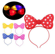 3pcs/lot LED Glowing Bow tie Hairpin Christmas Toys Light Emitting Bow tie Headband Flashing Colorful Headband Kids Toy