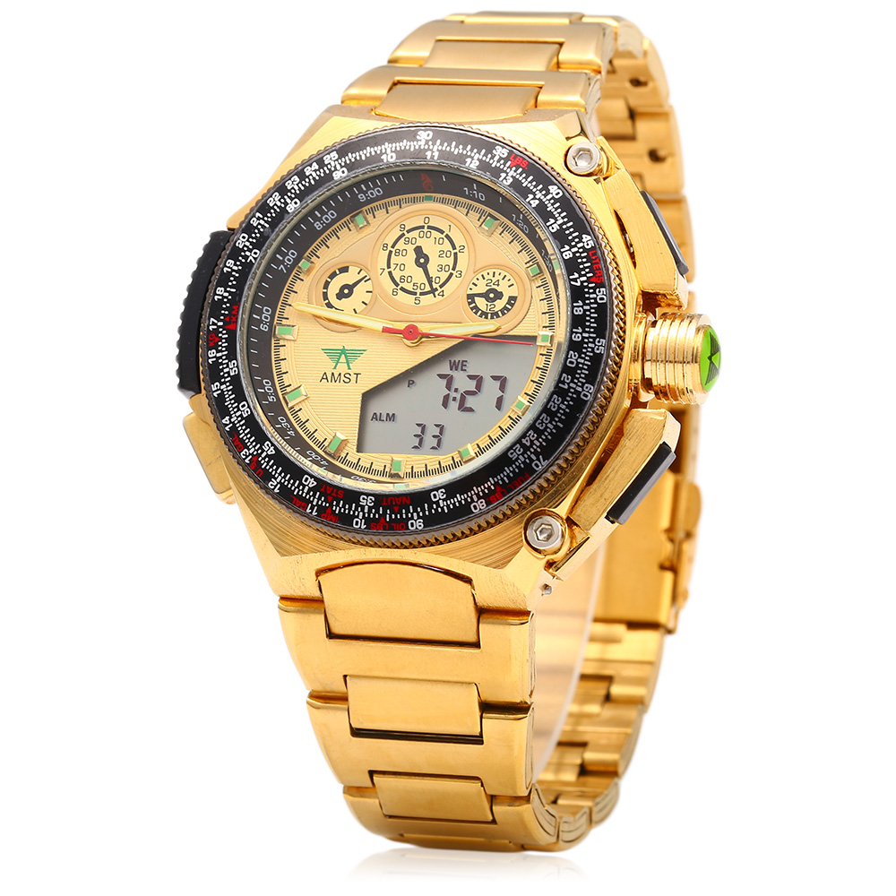 Men Wristwatches Business New Dual Display Man Watch Clock<br>